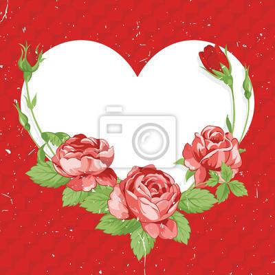 День святого Валентина старинные карты с розами на фоне поцарапанной