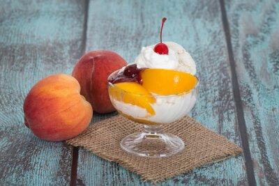 Картина Ваниль Персик Мельба мороженое с фруктами персика на деревянные vintag