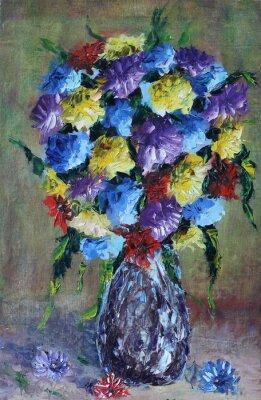 Картина ваза с цветами, натюрморт