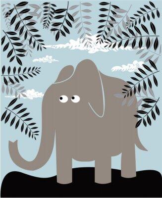 Вектор фон с слона и листвы