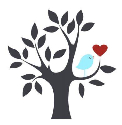 Вектор птиц и дерево