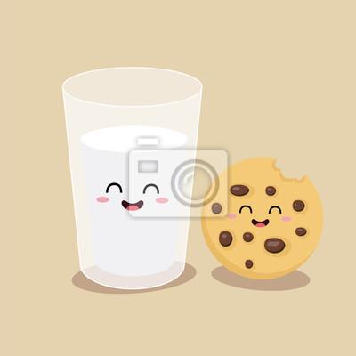 Вектор карикатуры комических персонажей стакан молока и печенья. Друзья навеки. Завтрак