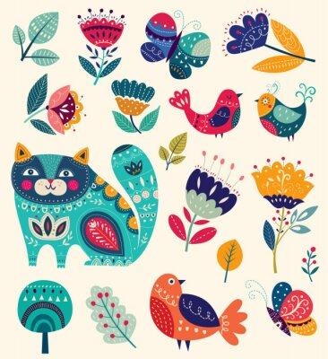 Картина Вектор коллекции с цветами, декоративные кошки, бабочки и птицы