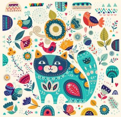 Картина Вектор красочные иллюстрации с красивыми кошек, бабочек, птиц и цветов