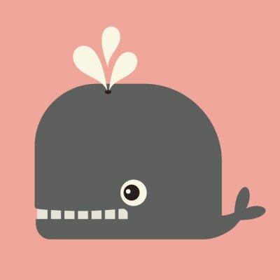 Картина вектор милый кит