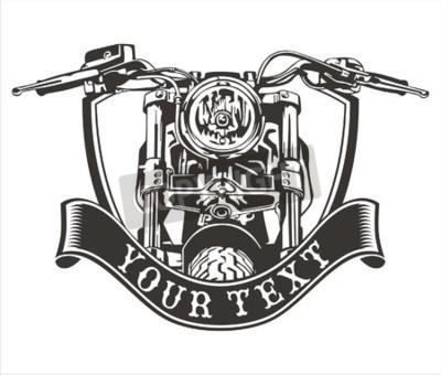 Картина Векторный дизайн старинный мотоцикл с лентой внизу