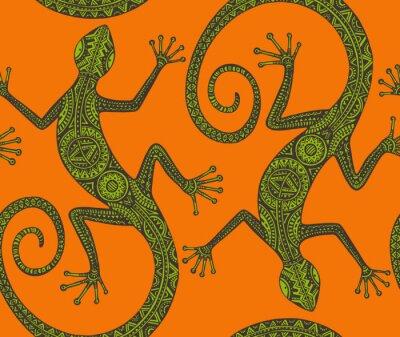Картина Вектор ручной обращается бесшовные модели с монохромным ящерицу или участок продаж