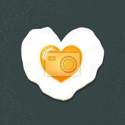 Вектор Икона яичницы в форме сердца, изолированных