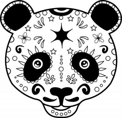 Картина векторные иллюстрации головы черно-белый панды