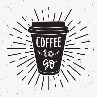 Картина Векторные иллюстрации забрать кофейную чашку с фразой «Кофе идти» и старинные световые лучи. Рисование для меню напитков и напитков или дизайна кафе.