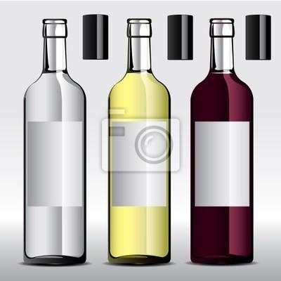 векторные иллюстрации бутылок вина с этикетками