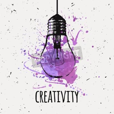 Картина Векторная иллюстрация с подвесной гранж лампочка с акварелью всплеск. Современный стиль эскиза хипстера. Идея и концепция креативности.