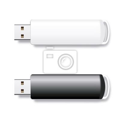 Вектор изолированных перо диски USB, черный и белый флэш-диски