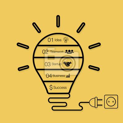 Вектор лампочки инфографики. Шаблон для круговой диаграммы, графика, презентации и круглого графика. Бизнес-концепция запуска Идея лампы с 4, 5 опций, частей, этапов, процессов. Успешный мозговой штур