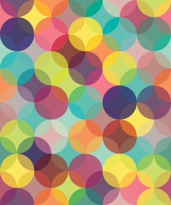 Картина Вектор Современные бесшовные цветные круги геометрия модели перекрытия, цвет абстрактный геометрический фон, обои печати, ретро текстуры, дизайн заниженной талией мода,
