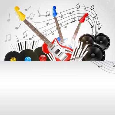 Картина Вектор музыкальный фон с инструментов и музыкального оборудования