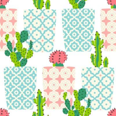 Картина Вектор шаблон с кактусами. Милые цветы кактуса в декоративных горшках. Рука рисования иллюстрации.