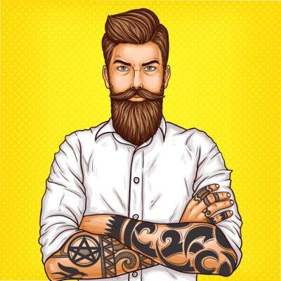 Картина Векторная иллюстрация поп-арт жестокой бородатый человек, мачо с татуировкой сложил руки на груди
