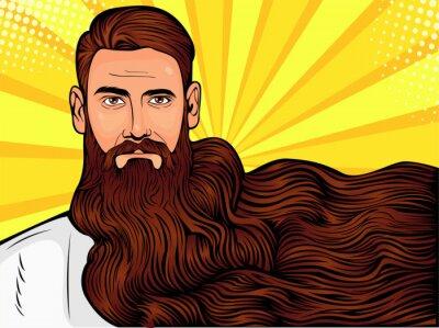 Картина Векторная иллюстрация поп-арт бородатого мужчины, мачо с очень длинной бородой на всем изображении