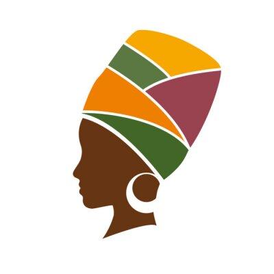 Картина Вектор профиль африканская женщина в шляпе