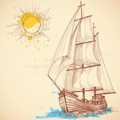 Картина Вектор парусная лодка