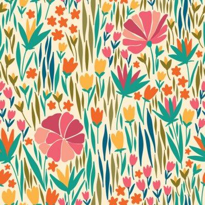 Картина Вектор бесшовные модели с летним цветком. Он может быть использован для рабочего стола или рамка для висячего или плакат, для штриховки, текстуры поверхности, веб-страницы фоны, текстиль и многое друг