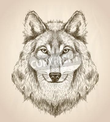 Картина Вектор эскиз иллюстрации вид спереди волк головы, черно-белый дизайн вектор дикой природы.