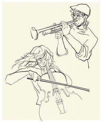 Картина Вектор эскиз musicants.