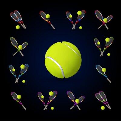 Картина Вектор теннисные символы как элементы дизайна, теннисные мячи, теннисный г