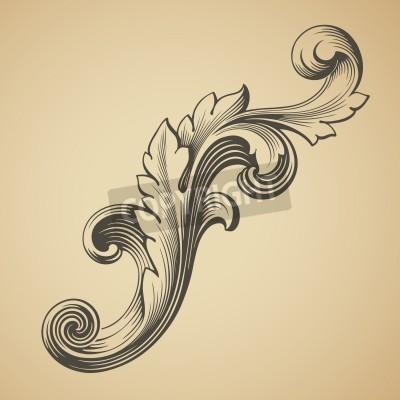 Картина vector vintage Baroque design frame pattern element engraving retro style