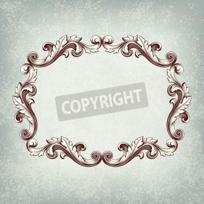 Картина Урожай векторный границы кадра гравировка с ретро орнамента в старинном стиле барокко декоративный дизайн гранж фон