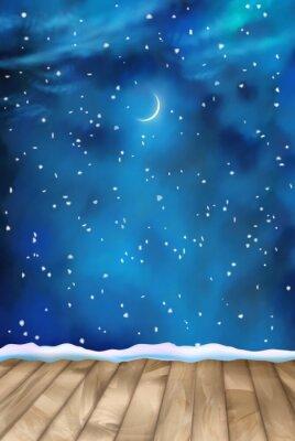 Картина Вектор Зимний фон Облака Ночные
