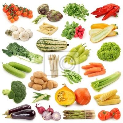 Коллекция овощей, изолированных на белом фоне.