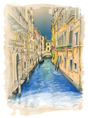 Картина Venice - water canal, old buildings & gondola away