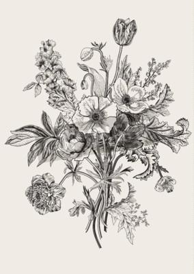 Картина Викторианский букет. Весенние цветы. Мак, анемоны, тюльпаны, дельфиниум. Урожай ботанические иллюстрации. элемент дизайна. Черное и белое. гравюра