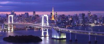 Картина вид на Токийский залив, Радужный мост и Башня Токио ориентир