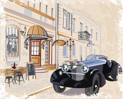 Картина Урожай фон с ретро-автомобилей и Музыканты, взгляды Старый город.