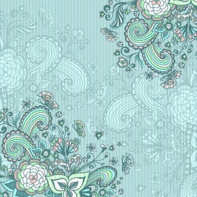 Картина Урожай фон с цветами рисунок на синем
