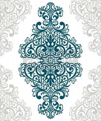 Картина vintage baroque border frame card cover flower motif arabic retro pattern ornate