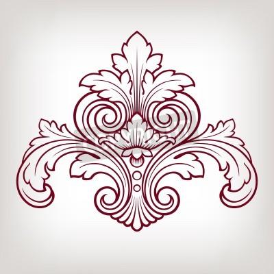 Картина vintage Baroque damask  design frame pattern element engraving retro style