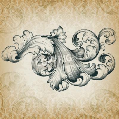 Картина старинные гравюры в стиле барокко цветочный прокрутки филигрань дизайн frameborder аканта элемент массива в ретро гранж дамасской фоне