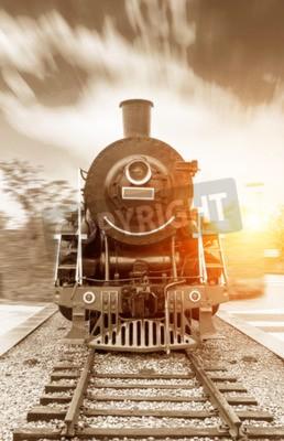 Картина Урожай черный паровые железнодорожный поезд