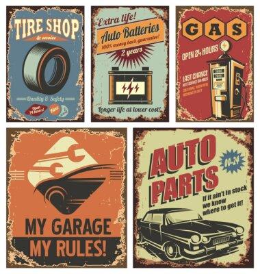 Картина Старинные знаки олова автомобилей услуг и плакаты