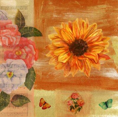 Картина Урожай коллаж с ноты, бабочки, розы и sunflow