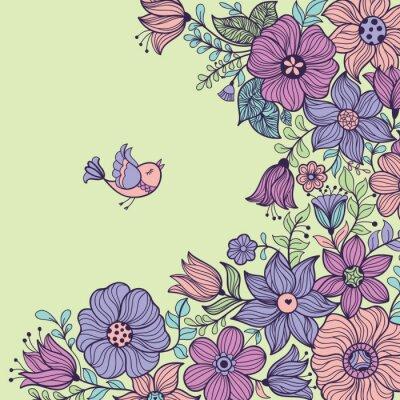 Картина Урожай цветочный бесшовные модели. Векторная иллюстрация.