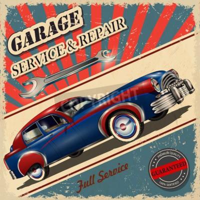 Картина Винтажный гараж ретро-постер