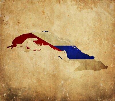Картина Урожай карта Кубы на гранж бумаги