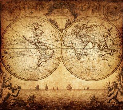 Картина старинные карта мира 1733