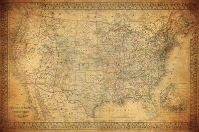 Картина Старинные карты США 1867