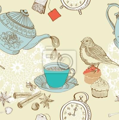 старинные утренний чай фон